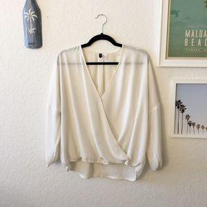 H&M White Long Sleeve Wrap Blouse